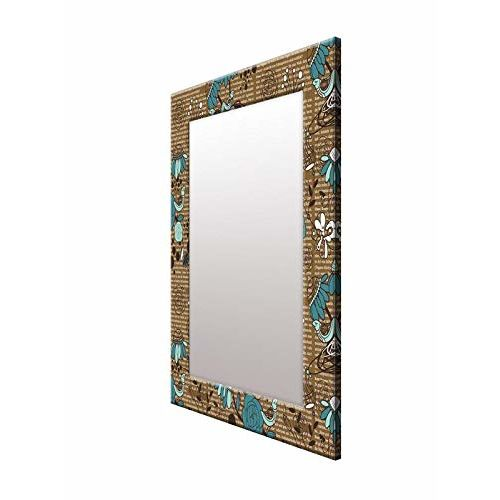 999Store Printed Brown Words and Flowers Pattern Mirror