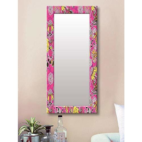 999Store Printed red Floral Art Pattern Mirror