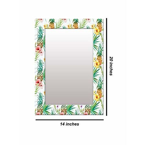 999Store Printed White Fruit& Flower Pattern Mirror