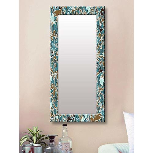 999Store Printed Blue Floral Pattern Mirror