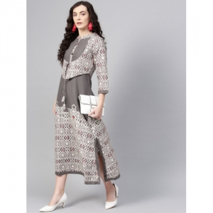 04e8e67102 Buy AKS Women Rust Red   Beige Kalamkari Print Maxi Dress online ...