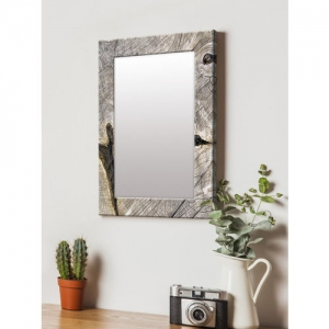 999Store Brown Printed MDF Wall Mirror