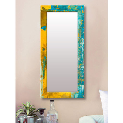 999Store Blue & Yellow Framed Wall Mirror