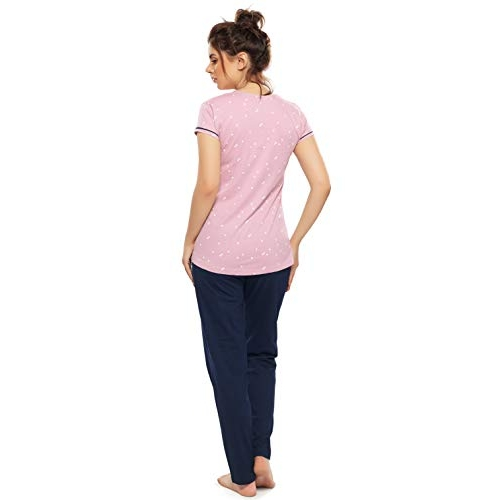 ZEYO Pink And Blue Cotton Printed Maternity Pyjama Set