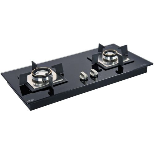 GLEN 2 Burner Auto Ignition Built in Glass Hob Glass Automatic Gas Stove(2 Burners)