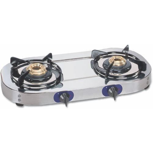 GLEN 1026SS 2 Brass Burner Stainless Steel Manual Gas Stove(2 Burners)