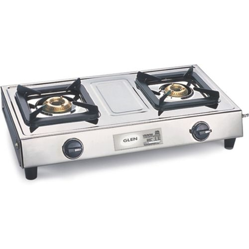GLEN 1021SS 2 Brass Burner Stainless Steel Manual Gas Stove(2 Burners)