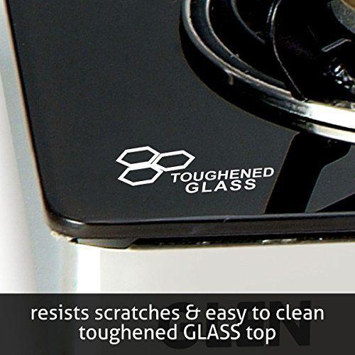 Glen 3 Burner Glass Gas Stove 1033 GT Brass Burners