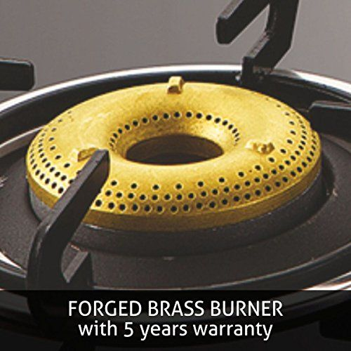 Glen 1041 Glass Top 4 Forged Brass Burner Gas Stove