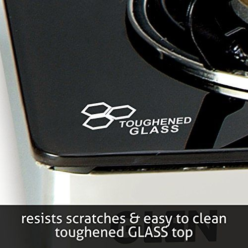 Glen Four Burner Glass Top LPG Stove 1043 GT EX with Fuel Efficient Brass Burners
