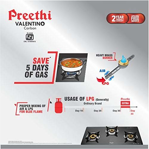 Preethi Saint Gobain Valentino GTS121 3 Burner Gas Stove (Black)