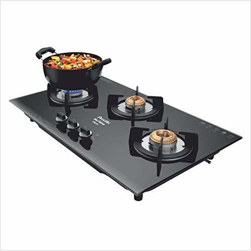 Preethi Decor CHS 001 3 Burner Auto Ignition Cooktop (Black)
