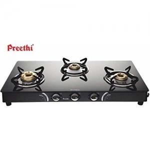 Preethi Blu Flame Sparkle Glass Top 3-Burner Gas Stove, Black with Free Life Long Service
