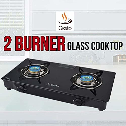 Gesto Stainless Steel 2 Burner Vista Gas Stove (Manual Ignition)