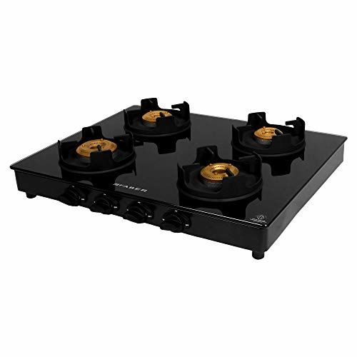Faber Gas Stove 4 Burner Glass Cooktop (Onyx 4BB BK) Manual Ignition, Black