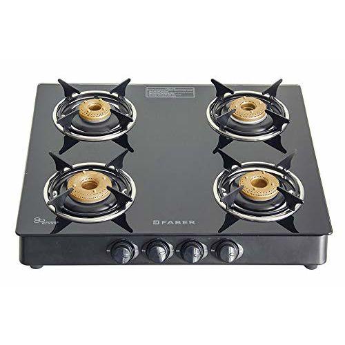 Faber Gas Stove 4 Burner Glass Cooktop (Super 4BB BK) Manual Ignition , Black
