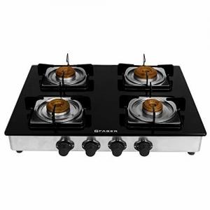 Faber Supreme Plus Gas Stove 4 Burner Glass Cooktop, Antileak Technology, Manual Igniton,Black