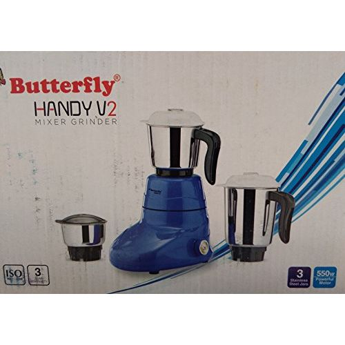 Butterfly 550W Stainless Steel Handy V2 Mixer Grinder(Multicolour)