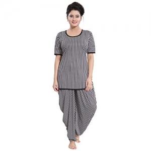 Tucute White & Black Lining Soft & Smooth Pyjama Set