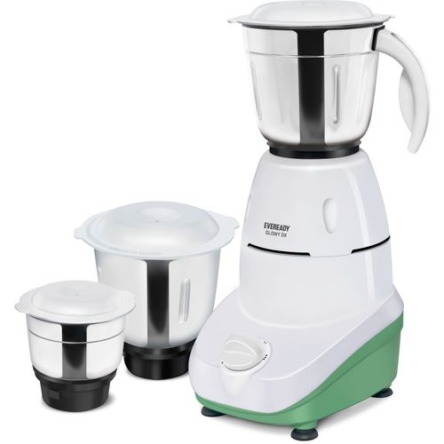 Eveready GLOWY DX 500 Mixer Grinder(White and Green, 3 Jars)