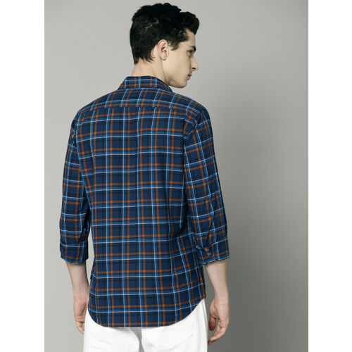 French Connection Men Blue & Brown Tyson Regular Fit Checked Casual Shirt