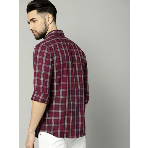French Connection Men Maroon & Navy Blue Checked Casual Shirt