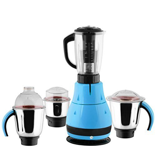 ANJALIMIX Juicer Mixer Grinder DESIGNO 1000 WATTS With 4 Jars (Blue & Black), DRY, WET, CHUTNEY, FILTER JUICER