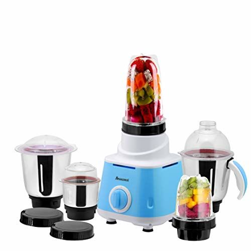 Anjalimix Omega (Blue) 600 Watts Smoothie Maker + Mixer Grinder with 5 Jars