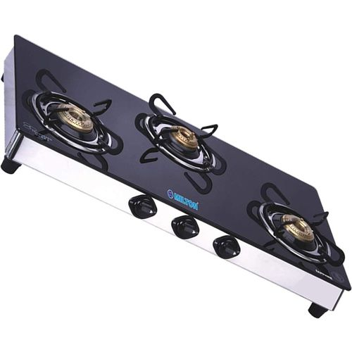 Milton Sapphire 3 Burner Gas Stove Stainless Steel, Glass Manual Gas Stove(3 Burners)