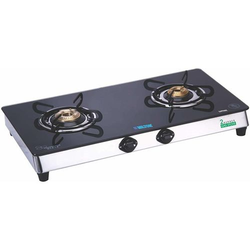 Milton Sapphire 2 Burner Gas Stove Stainless Steel, Glass Manual Gas Stove(2 Burners)