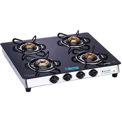 Milton Sapphire 4 Burner Gas Stove Stainless Steel, Glass Manual Gas Stove(4 Burners)