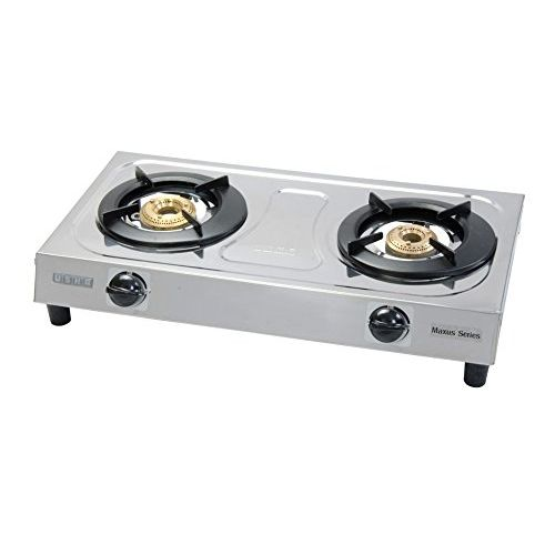 Usha Maxus Gs2 001 Brass 2 Burners Cooktop (Silver)