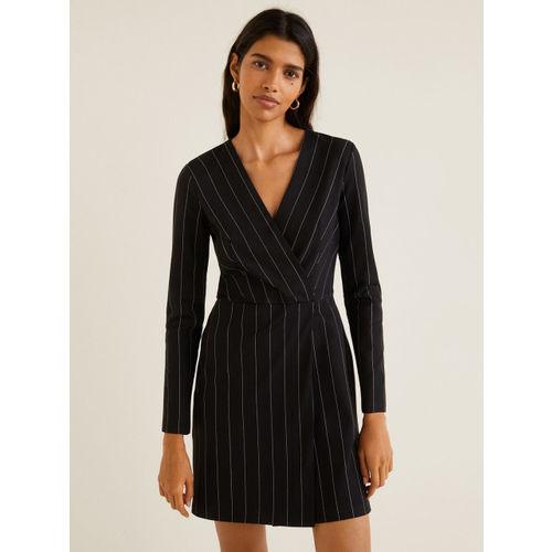 MANGO Women Black Striped Wrap Dress