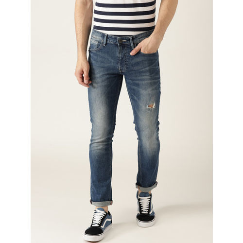 United Colors of Benetton Men Blue Skinny Fit Mid-Rise Low Distress Stretchable Jeans