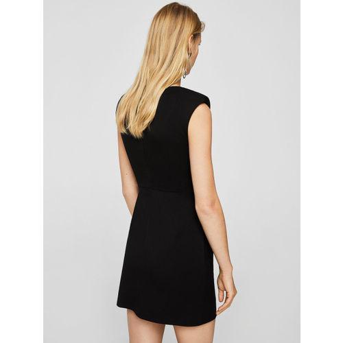 MANGO Women Black Solid Sheath Dress