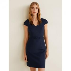 MANGO Women Navy Blue Solid Sheath Dress