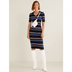 MANGO Navy Blue & White Striped Bodycon Dress