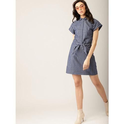 b368950f Buy MANGO Women Navy Blue & White Chambray Striped Shirt Dress ...