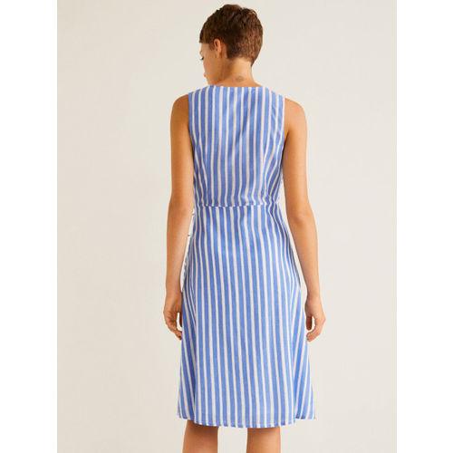 MANGO Women Blue & White Striped Wrap Dress