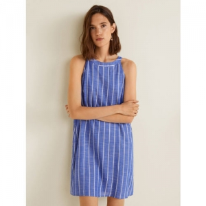 MANGO Women Blue & White Striped Shift Dress