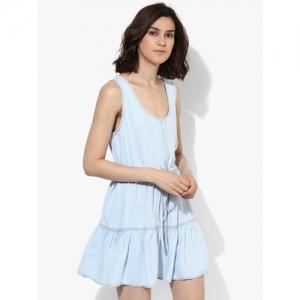 MANGO Blue Ruffle Tencel Dress