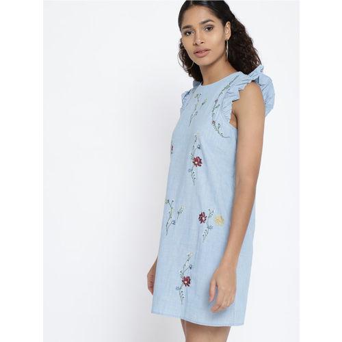 MANGO Women Blue Self Design A-Line Dress
