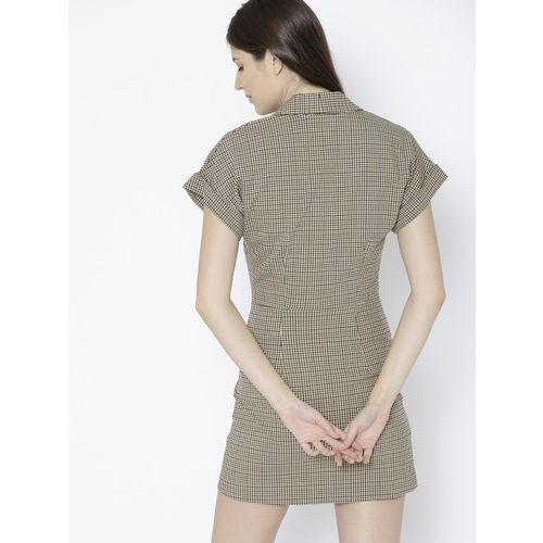 MANGO Women White & Brown Checked Wrap Dress
