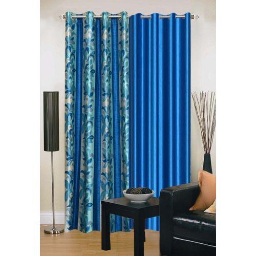 Ville Style 214 cm (7 ft) Polyester Door Curtain (Pack Of 2)(Floral, Aqua, Light Blue)