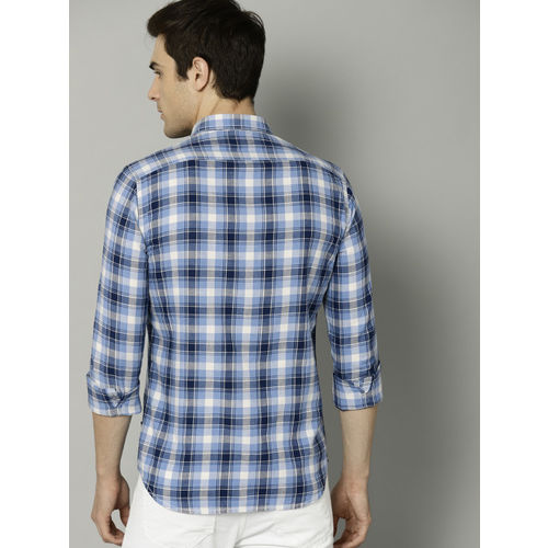 French Connection Men Blue & White Regular Fit Checked Casual Shirt