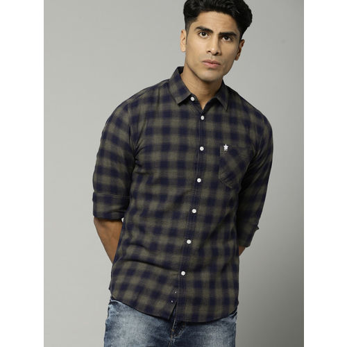 French Connection Men Olive Green & Navy Slim Fit Checked Casual Shirt
