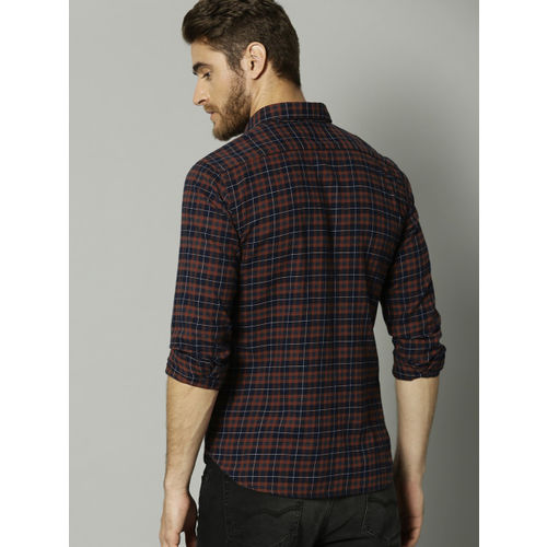 French Connection Men Brown & Navy Blue Slim Fit Checked Casual Shirt