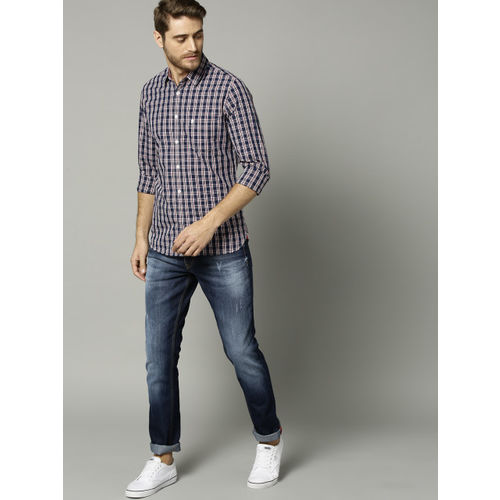 French Connection Men Navy Blue & White Slim Fit Checked Casual Shirt