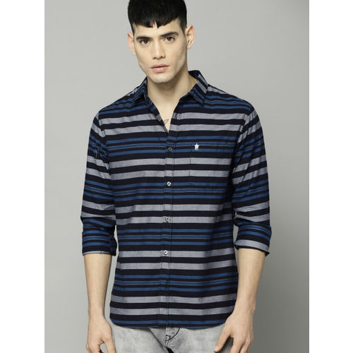 French Connection Men Navy Regular Fit Striped Casual Shirt