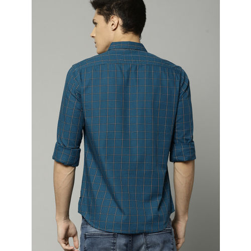 French Connection Men Teal Blue & White Slim Fit Checked Casual Shirt